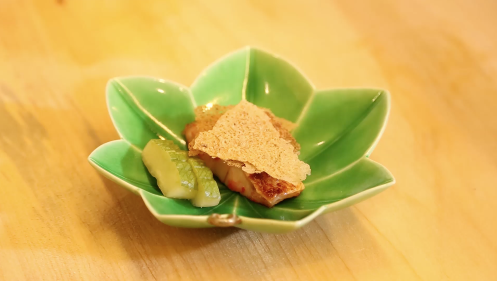 Rosy seabass cooked in a special salted koji mold|Toyonaka Sakurae